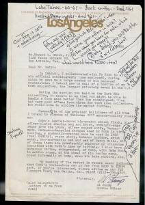Exhibit 4: A letter from Al Stump to auctioneer Howard G. Smith offering the sale of a portion of his collection of Ty Cobb memorabilia, which he describes as the largest privately owned collection of Cobb memorabilia in the country. The handwritten notes on the letter (other than Al Stumps signature) are questions and comments written by Smith as he reviewed the letter and subsequently discussed the sale in phone conversations with Stump.